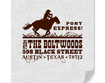 Personalized Address Stamp - Custom Stamp - Western Style - Country - DIY Address Printing - Personalized Gifts - Pony Express - Vintage