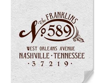 Personalized Address Stamp - Custom Address Stamp - Vintage Style - Weddings - Housewarming - DIY Printing - Original Design - Home Office