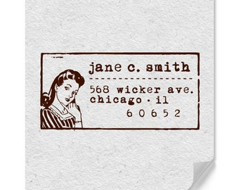 Personalized Address Stamp - Custom Stamp - Retro - Unique Gifts - Wedding - Self Inkers - Wood Mounted Stamps - DIY Printing