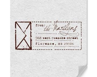Personalized Address Stamp - Custom Address Stamp - Envelope Graphic - Wedding - Personal Gifts - DIY Printing - Wood Mounted - Self-Inker