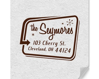 Personalized Address Stamp - Custom Stamp - Retro Style Stamp - Wood Mounted - Self Inker - Unique Gifts - Housewarming - DIY Addressing