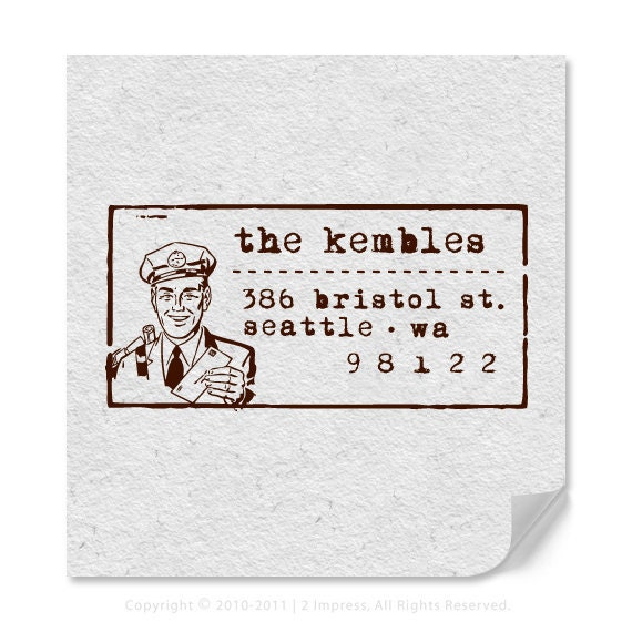 Address Stamp - Personalized Address Stamp - Custom Address Stamp - Retro - Postal Service Man - Housewarming - Personalized Gifts - DIY