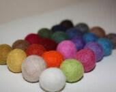 Felted balls,15-18mm multicolor mix 20 felt balls pack