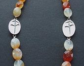 Handmade Agate Stone Flower Pendant Necklace
