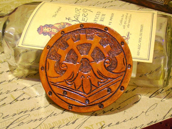 Steampunk Geared Leather Bracer Patch Top Hat Medallion