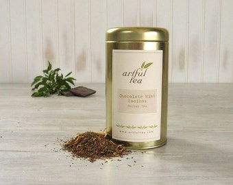 Chocolate Mint Rooibos Tea • 3.5 oz. Tin • Luxury Loose Leaf Herbal Blend