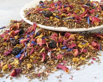 Green Rooibos with Blossoms Herbal Tea • 7 oz. Kraft Bag • Loose Leaf Blend • Blueberries, Sunflower & Rose Petals