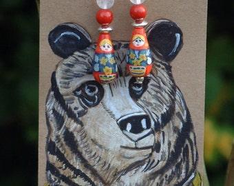 Wooden Russian Doll Earrings
