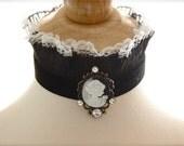 Victorian Goth Lace choker Edwardian Dramatic collar Black fabric Necklace Lady Cameo Jewelry Renaissance PASSIONATE NIGHT