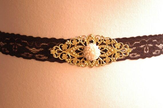 Stretchy Black Lace waist belt gold filigree Romantic Flower Belt Accessories Vintage Bride Bridesmaids Retro Chic. 'Hopeless Romantic'