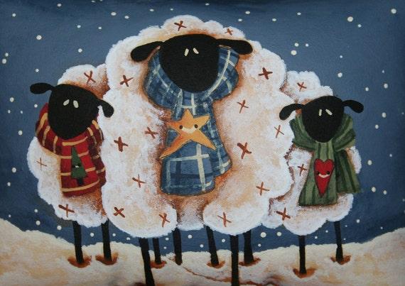 Sheep Little Pillow - Bowl Filler - Tuck - Hand Painted - OFG