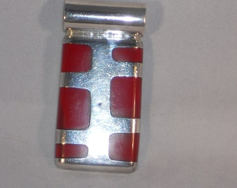 Vintage Sterling silver and red coral Pendant