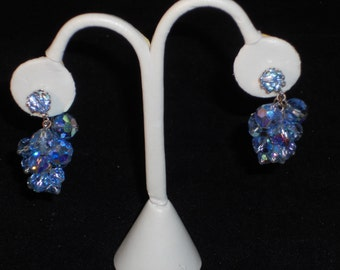 Vintage Blue AB Crystal clip on Earrings