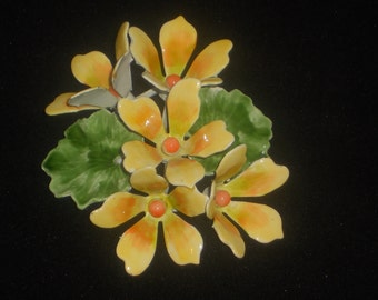 Beautiful Large Vintage Enamel Floral Brooch