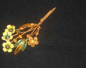 Vintage Floral Rhinestone and Enamel Julianne brooch.