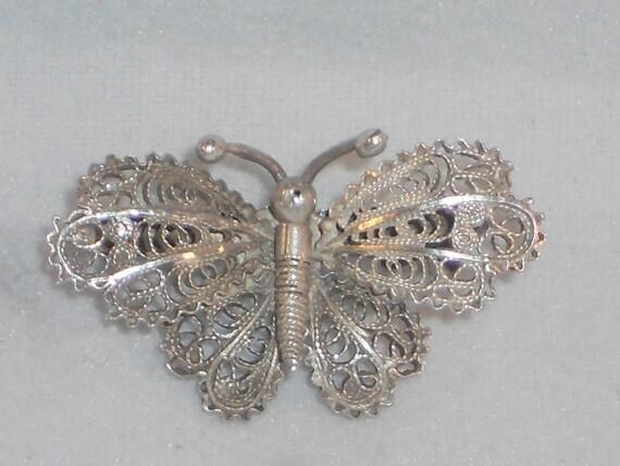 Vintage/Antique  800 silver filigree butterfly brooch Art Deco