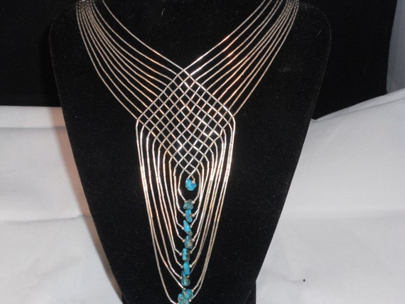 Vintage Liquid sterling silver and Turquoise Necklace tribal