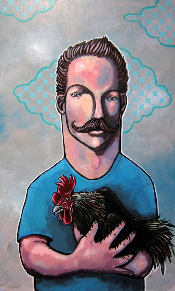 Hold on to your Rooster, rooster, cock, bathroom art, pop surrealism, lowbrow, lowbrow art, art, painting