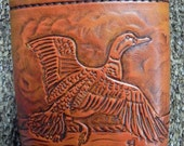Hand Tooled Flying Duck Leather Covered Flask