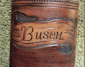 Custom Made Peresonalized Leather Covered Flask