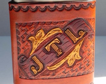 Hand Made Custom Made Leather Covered Flask with Gold Trim