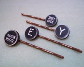 Wooden Typewriter Key Hairpins - Custom - Replica