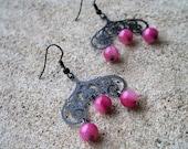 Pink Gothic Chandelier Earrings