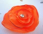 Bright Orange Flower Hair Clip