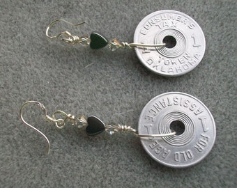 """Sales Tax Token with Hematite Heart earring - """"History on your ear"""""""