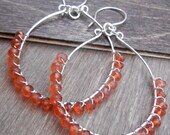 Orange Gemstone Hoop Earrings Sterling Silver, Wrapped Chalcedony Hoops, Fanta Orange Earrings, Orange Hoops