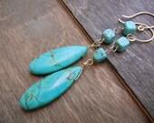 Turquoise Earrings, 14k Gold Drop Gemstone Earrings 14K Gold Filled