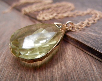 Gold Dipped Lemon Quartz, 14K Gold Filled Chain, Sunshine Yellow, Gold Citrine Yellow Gemstone Pendant