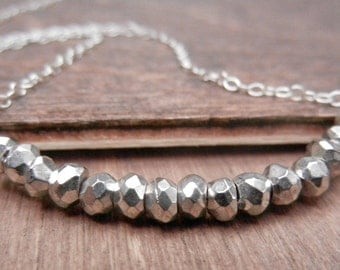Silver Pyrite Necklace, Sterling Silver Chain, Fools Gold Necklace, Simple Silver Necklace, Silver Row Necklace
