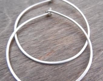 Sterling Silver Hoop Earrings, Medium Silver Hoops, On Sale, Simple Silver Hoops