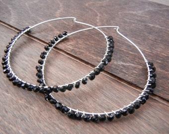 Black Onyx Hoop Earrings Sterling Silver Hoops, Black Hoops, Large Hoop Earrings, Onyx Gemstone Hoops, Simple Onyx Earrings