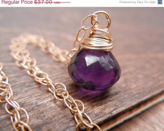 Amethyst Purple Gemstone Necklace, 14K Gold Filled Chain, Amethyst Wire Wrapped Pendant, February Birthstone, Purple Gemstone Pendant