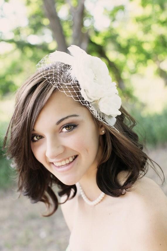 Ivory bridal hair accessories , bridal hair flower, wedding veil Floral Fascinator with birdcage veil