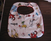 Dr. Seuss flannel and red minky dot baby bib