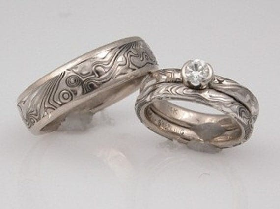 Hand Crafted White Gold with Sterling Mokume Gane Wedding Set