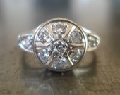 Engagement Ring -- Diamond and White Gold in Art Deco Setting