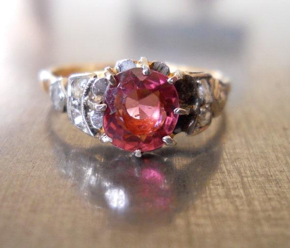 Antique Pink Garnet and Rose Cut Diamond Ring