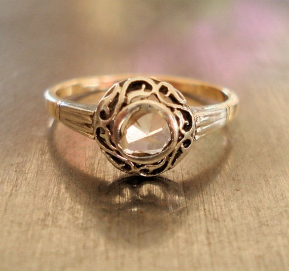Antique Engagement Ring - Rose Cut Diamond and 18k Gold