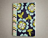Backpocket journal - Blue Floral Chevron mini notebook