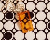 amber yellow watch crystal pendant