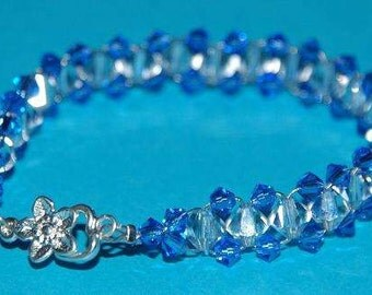 Swarovski Crystal Bracelet Blue and Clear with Flower Clasp. Perfect for Weddings and Special Occasions