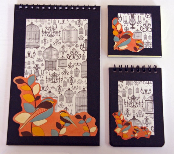 Notebook/Notepad 3 piece Set: Vintage Bird Cage theme. includes a large note pad, a small note pad and a sticky memo pad. Autumn Themed,