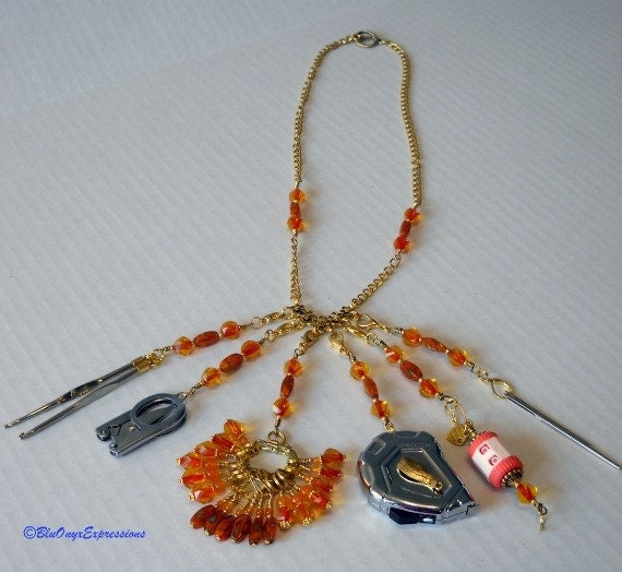25 Piece Knitter's Tool Chatelaine in Warm Peach- Supplies, knitting, stitch markers,mini tape measure