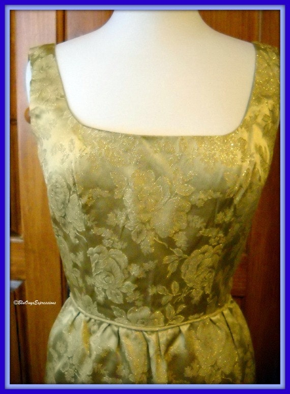 Vintage Romantic  Dressing - 1960's Mad Men Style Gold Jacquard Sleeveless Bombshell Cocktail Dress