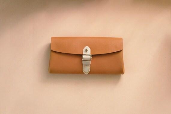 Sandybrown Leather Clutch