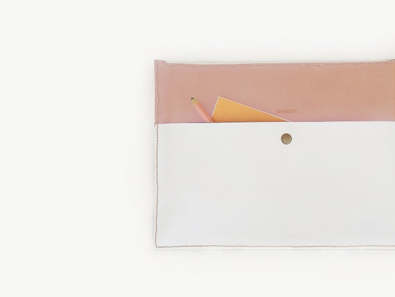 "13"" Mac book pro case/ Laptop Sleeve - Saddlebrown and White"